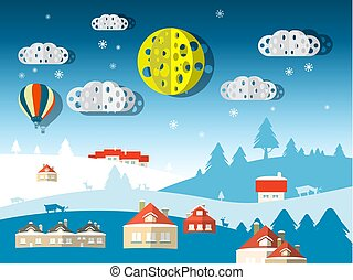 Vector Winter Scene. Abstract Paper Cut Flat Design Nature Landscape.