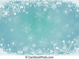 Vector winter sky blue gradient Christmas background snowflake and snow border