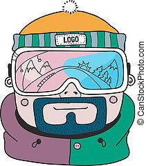 Vector winter sport snowboarding illustration. You can add your logo. Can be used for t-shirt print, Stickers and postcards.
