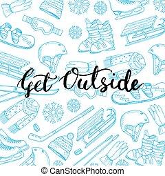 Vector winter sports equipment - Vector hand drawn winter...