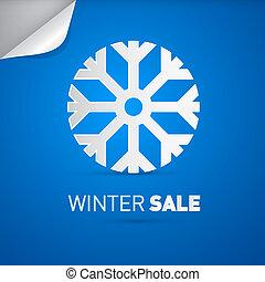 vector, winter, verkoop, titel, en, sneeuwvlok, op, blauwe achtergrond