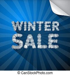 vector, winter, verkoop, titel, gemaakt, van, snowflakes, op, blauwe achtergrond