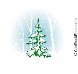 vector wintery illustration with fir-tree - eps 8