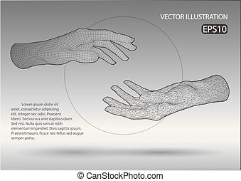 Vector wire frame hands. Vector illustration template on...