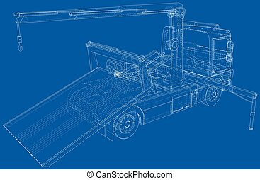Vector Wire-frame line illustrations of tow trucks. EPS10 format. Vector created of 3d