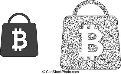 Vector Wire Frame Mesh Bitcoin Shopping Bag and Flat Icon -...