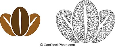 Vector Wire Frame Mesh Coffee Beans and Flat Icon