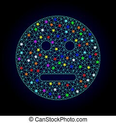 Vector Wire Frame Mesh Neutral Smiley with Glowing Spots for New Year