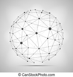 Vector wireframe connecting earth sphere. Globe connection concept.