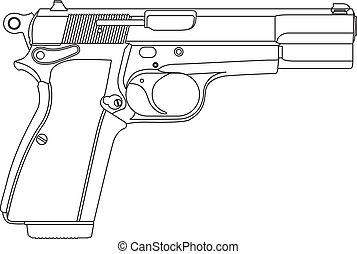 Vector wireframe gun pistol