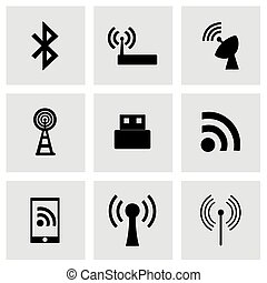 Vector wireless icon set on grey background