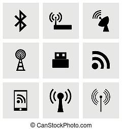 Vector wireless icon set on grey background