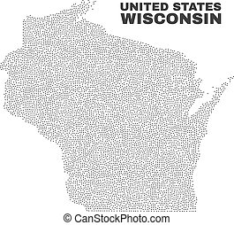 Vector Wisconsin State Map of Dots