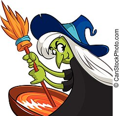 Vector witch cartoon