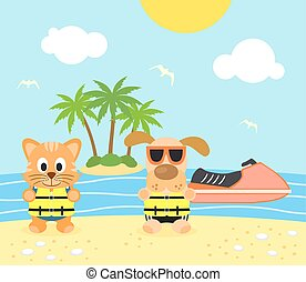 Vector with funny dog and cat