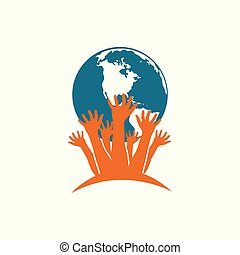 Vector with hands holding Planet Earth. Protection of nature, eco problem
