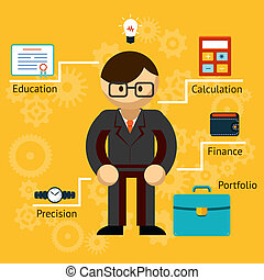 Vector with information on a businessman - Vector ...