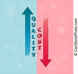 Vector with quality and cost arrows divided into blue and...