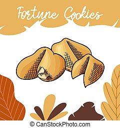 vector, witte , achtergrond., fortuin, heerlijk, getrokken, illustratie, hand, kleur, koekje, design., cookies., voedingsmiddelen