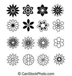 vector, witte bloem, black