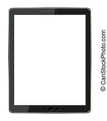 vector, witte , computer, vrijstaand, tablet