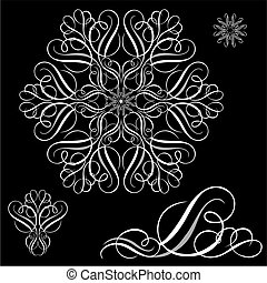 vector, witte , ornament, set