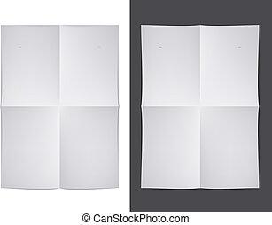 vector, witte , papier, ineengevouwen
