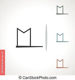 vector, witte , pictogram, vlag, vrijstaand, achtergrond