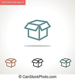vector, witte , pictogram, vrijstaand, doosje, achtergrond