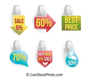 Vector wobbler set with advertising sale text.