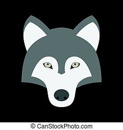 Vector wolf icon, flat design