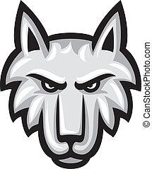 vector, wolf, illustratie, gezicht