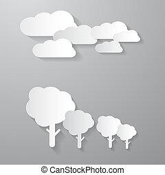 vector, wolken, bomen, snijden document, achtergrond