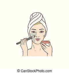 Vector woman applying facial mask, face treatment