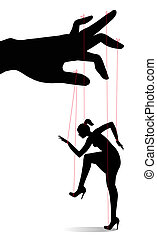 Woman as a marionette controlled - vector Woman as a...