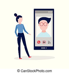 Vector woman calling with video