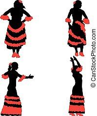Vector. Woman dancing flamenco.