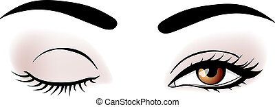 vector woman eyes - vector woman broun eyes illustration