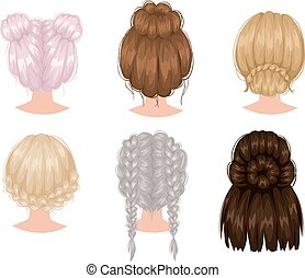 Vector woman hairstyle back view - Vector design of ...