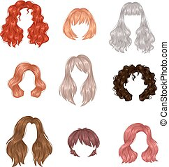 Vector design of beautiful collection of female hairstyle. Portrait beautiful woman hairstyle straight smooth brown hair. Styling brunette woman hairstyle fashion wellness pretty profile.