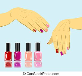 vector woman hands with fingernails and set of nail polish isolated