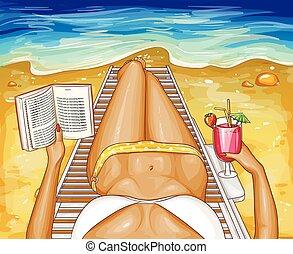 Vector woman in bikini lies on chaise-longue - Vector pop...