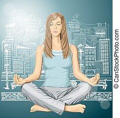 Vector woman meditating in lotus pose in city
