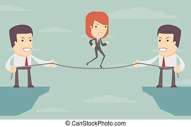 Vector woman over an abyss. people help each other
