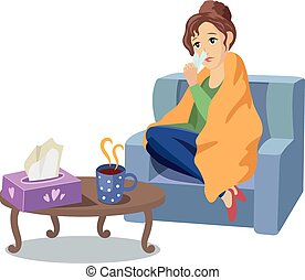 Vector woman suffering from cold, flu concept