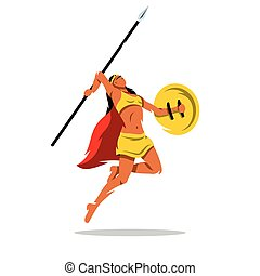 Vector Woman Warrior with a spear Cartoon Illustration.