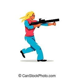 Vector Woman with a gun Cartoon Illustration.