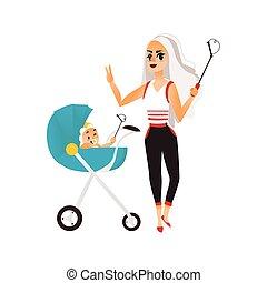 Vector woman with baby in stroller make selfie