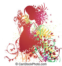 Vector Woman with Butterfly Dress - Vector Illustration of...
