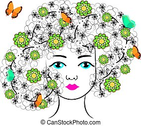 vector woman with flowers and butterflies